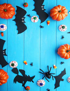 Bat Pumpkin And eye Props On Blue Wood Floor For Halloween Photography Backdrop J-0204 - Shop Backdrop