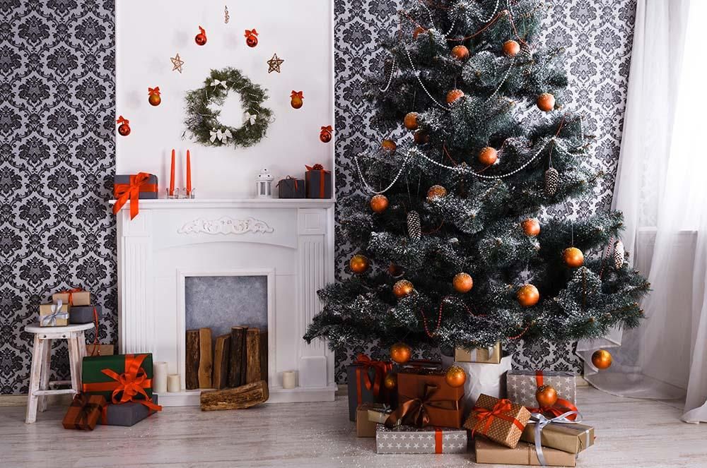 Beautiful Christmas Tree Decorated With White Fireplace For Holiday Photography Backdrop N-0059 - Shop Backdrop