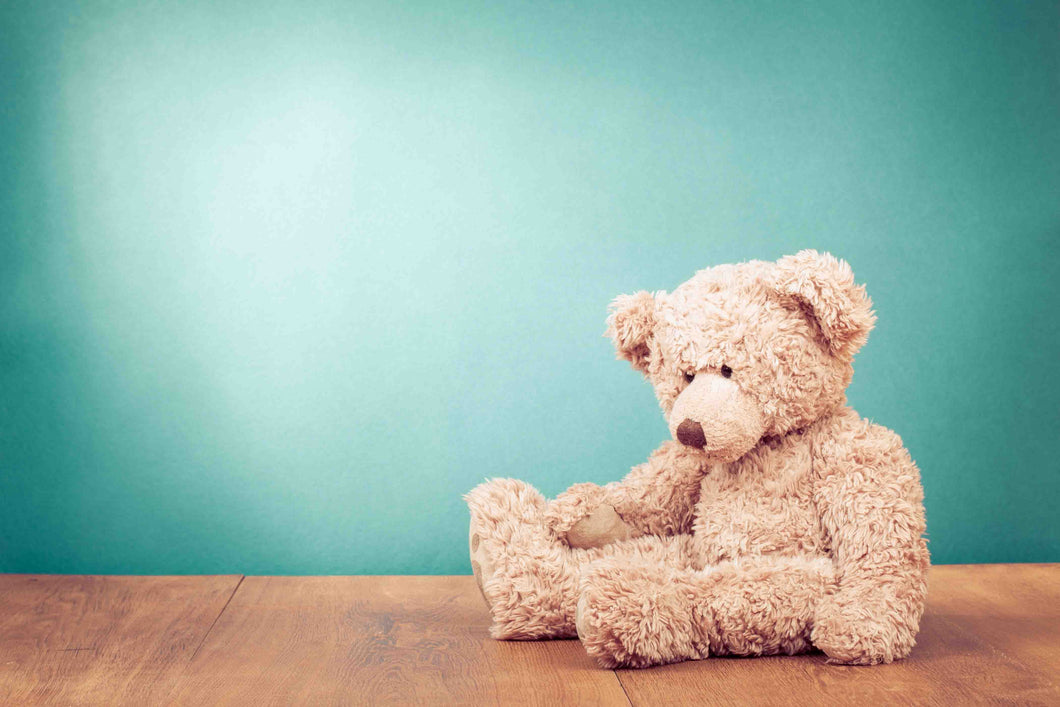 Bear Plush Toy On Wood Floor With Pale Turquoise Wall Backdrop - Shop Backdrop