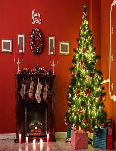 Beautiful Christmas Living Room With Decorated Christmas Tree Backdrop J-0143 - Shop Backdrop