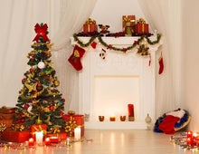 Beautiful Christmas Tree And Fireplace Covered Gifts For Holiday Photo Backdrop - Shop Backdrop