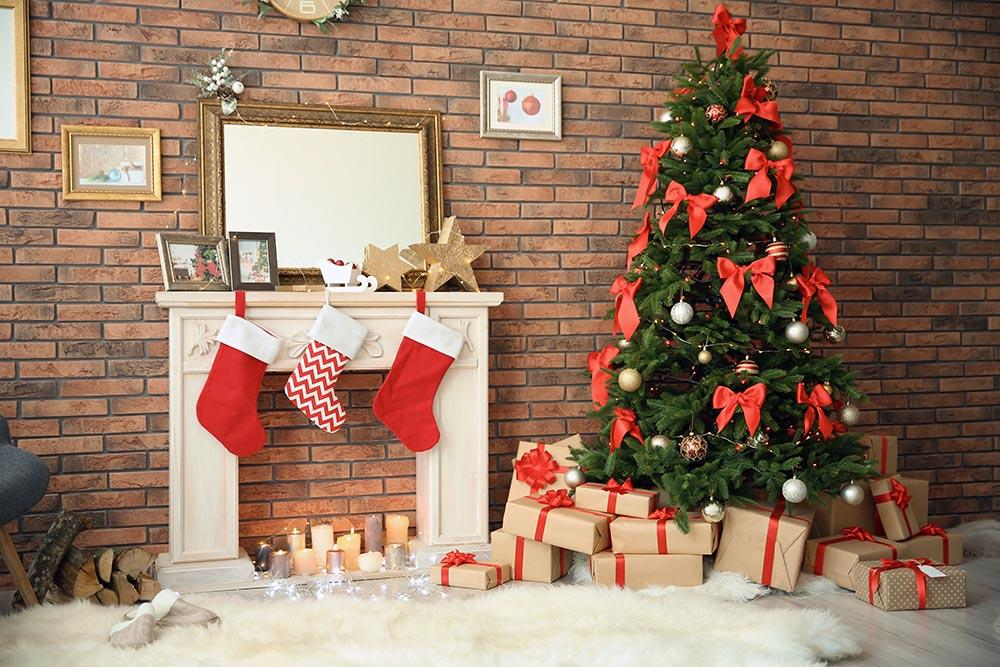 Beautiful Christmas Tree With Fireplace For Christmas Holiday