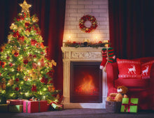 Beautiful Christmas With Fireplace Photography Backdrop J-0604