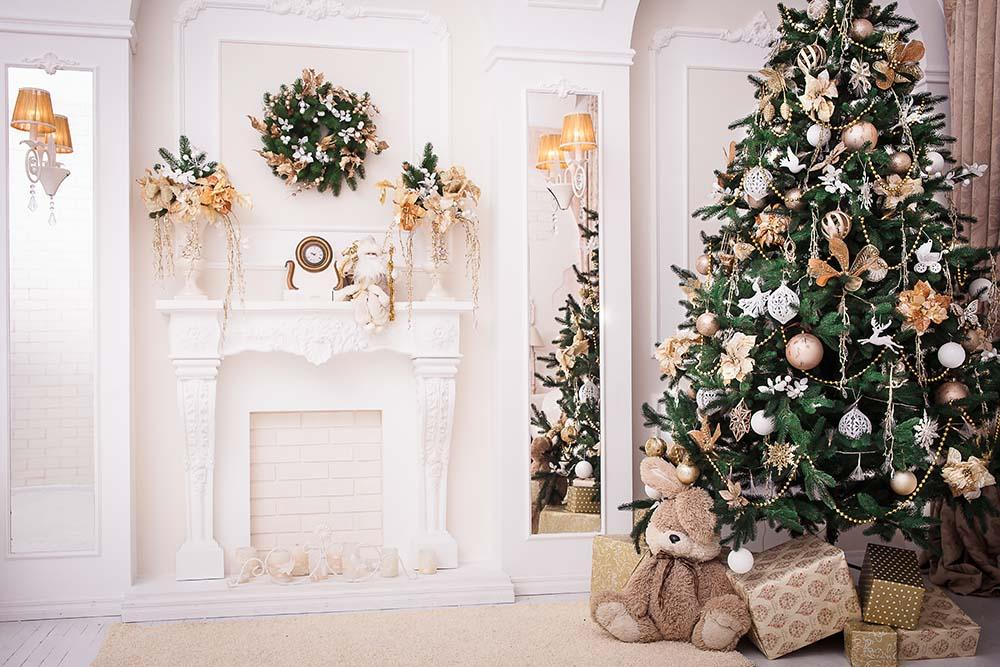 Beautiful Decorated Christmas Tree For Holiday Photography Backdrop N-0016 - Shop Backdrop