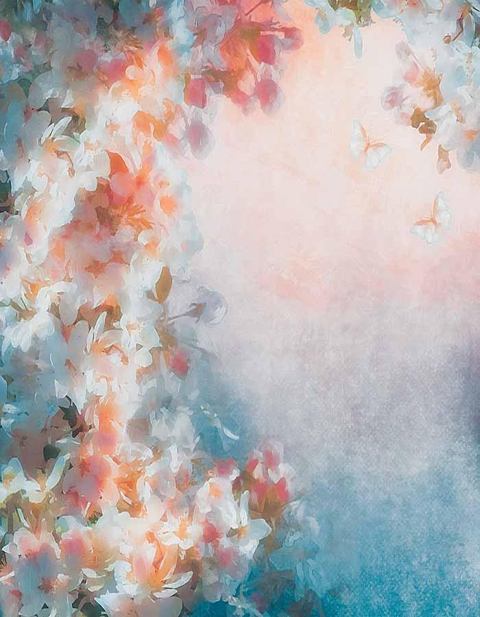 Beautiful Flowers Painted For Spring Photography Backdrop N-0043