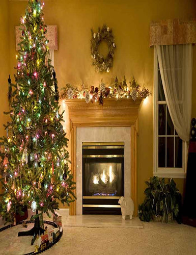 Beautiful Living Room Decorated For Christmas Photography Backdrop J-0259 - Shop Backdrop