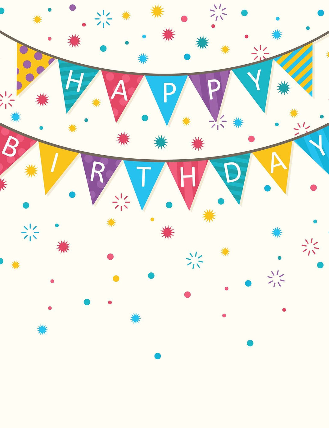 Birthday Flags Hanging Before Colorful Dots Backdrop For Photography - Shop Backdrop