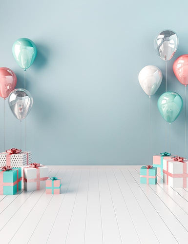 Birthday Gift On White Wood Floor For Baby Birthday Photography Backdrop - Shop Backdrop