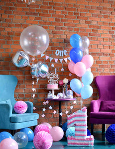 Birthday Party For One Year Old With Red Brick Backdrop - Shop Backdrop