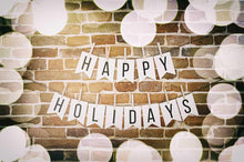 Black And White Happy Holidays With Brick Wall For Holiday Photography Backdrop N-0033 - Shop Backdrop