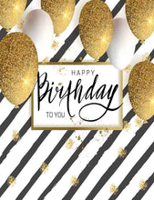 Black Stripes With Golden Balloons For Birthday Photography Backdrop - Shop Backdrop