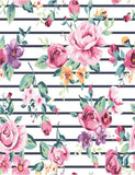 Black Stripes With Painted Rose Flower Photography Backdrop J-0114
