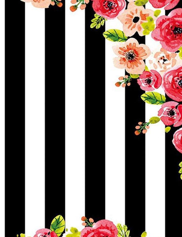 Black Strips With Patterns Flower Backdrop For Summer Photography lv-1016 - Shop Backdrop