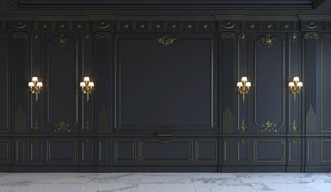 Black Wall Panels In Classical Style With Gilding And Sconces Photography Backdrop  J-0699 - Shop Backdrop