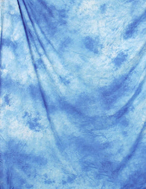 Blue Abstract Muslin Hand Painted Backdrop For Studio Photo