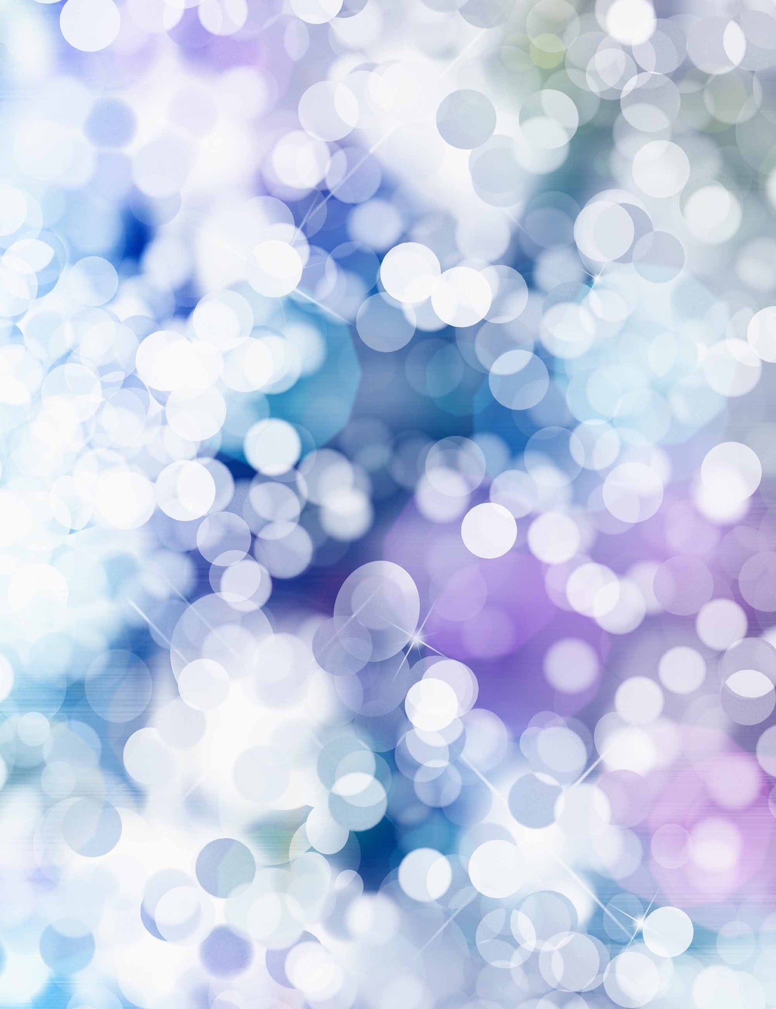 Blue And Purple Watercolor Bright Silver Bokeh Printed Backdrop