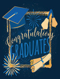 Blue Bachelor Cap And Gold Fireworks For Celebrate Graduation Backdrop - Shop Backdrop