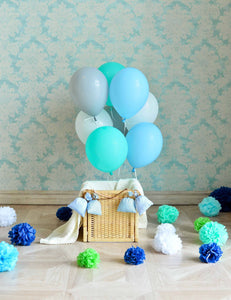 Blue Balloons Before Patterns Wall With Floor For Kid Backdrop For Photography - Shop Backdrop