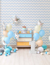 Blue Chevron Wall With Silver Star And Nature Wood Floor For One Birthday Backdrop - Shop Backdrop