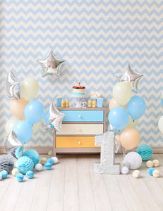 Blue Chevron Wall With Sliver Star And Nature Wood Floor For One Birthday Backdrop