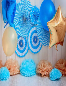 Blue Paper Wheel And Gold Star Balloon On Wood Floor For Birthday Photography Backdrop