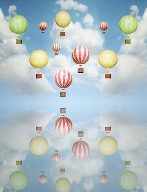 Blue Sky And White Hot Air Balloon Photography Backdrop F-2615