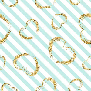 Blue Stripes With Golden Hearts For Valentines Day Photography Backdrop J-0358 - Shop Backdrop