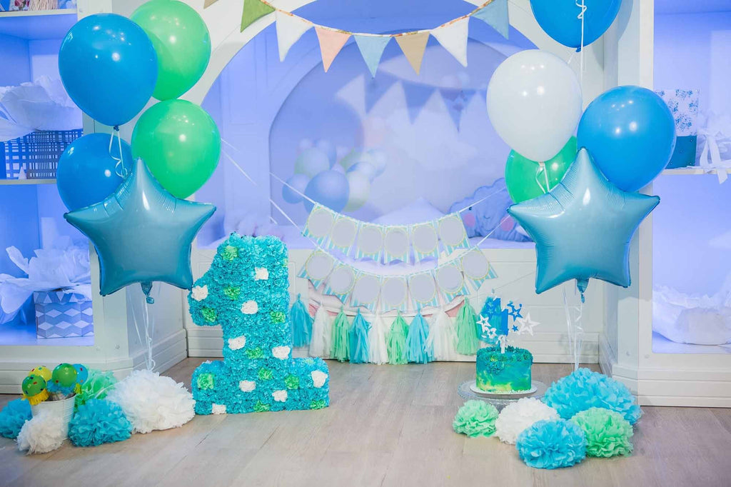 Blue Wall And Balloons With Wood Floor For Baby One Birthday Backdrop - Shop Backdrop