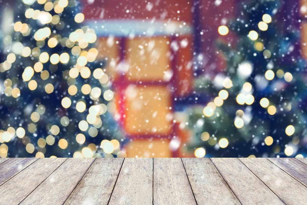 Bokeh Christmas Tree Outside With Wood Floor Photography Backdrop - Shop Backdrop