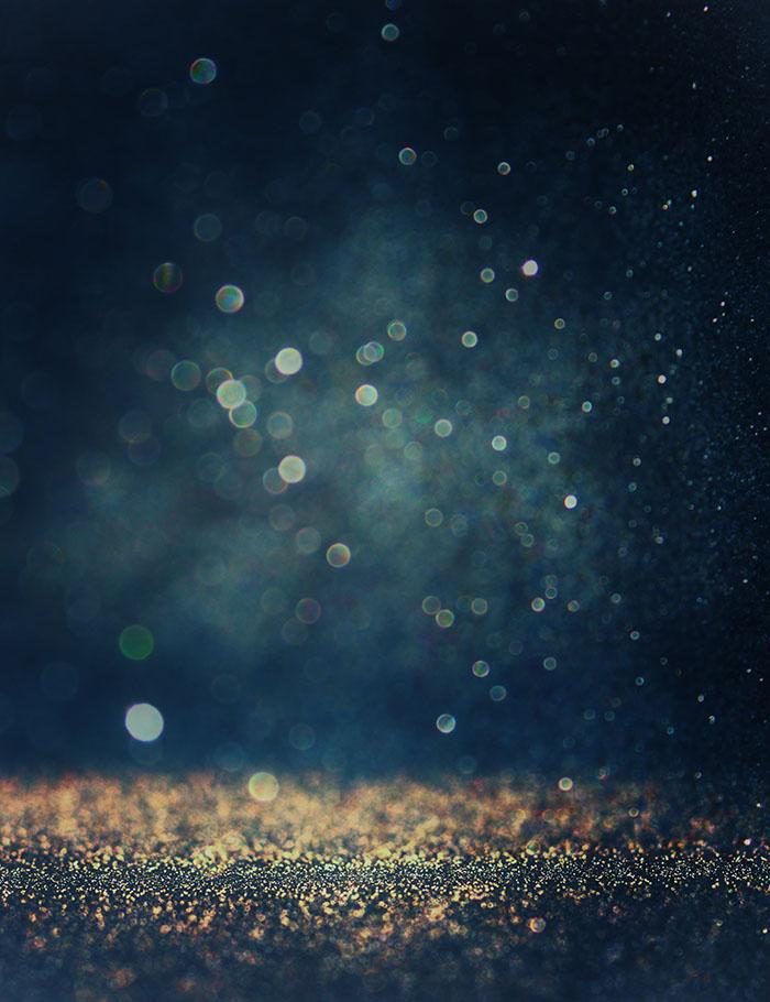 Bokeh Dark Blue Background With Gold Sparkle Photography