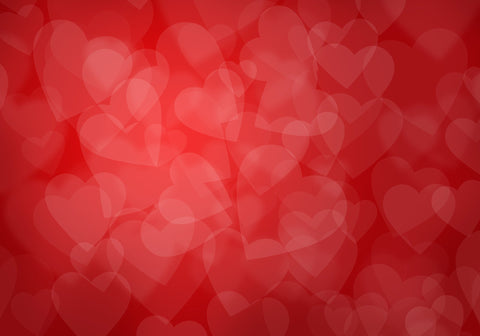 Bokeh Hearts Printed On Red Background For Love Couple Photography Backdrop - Shop Backdrop