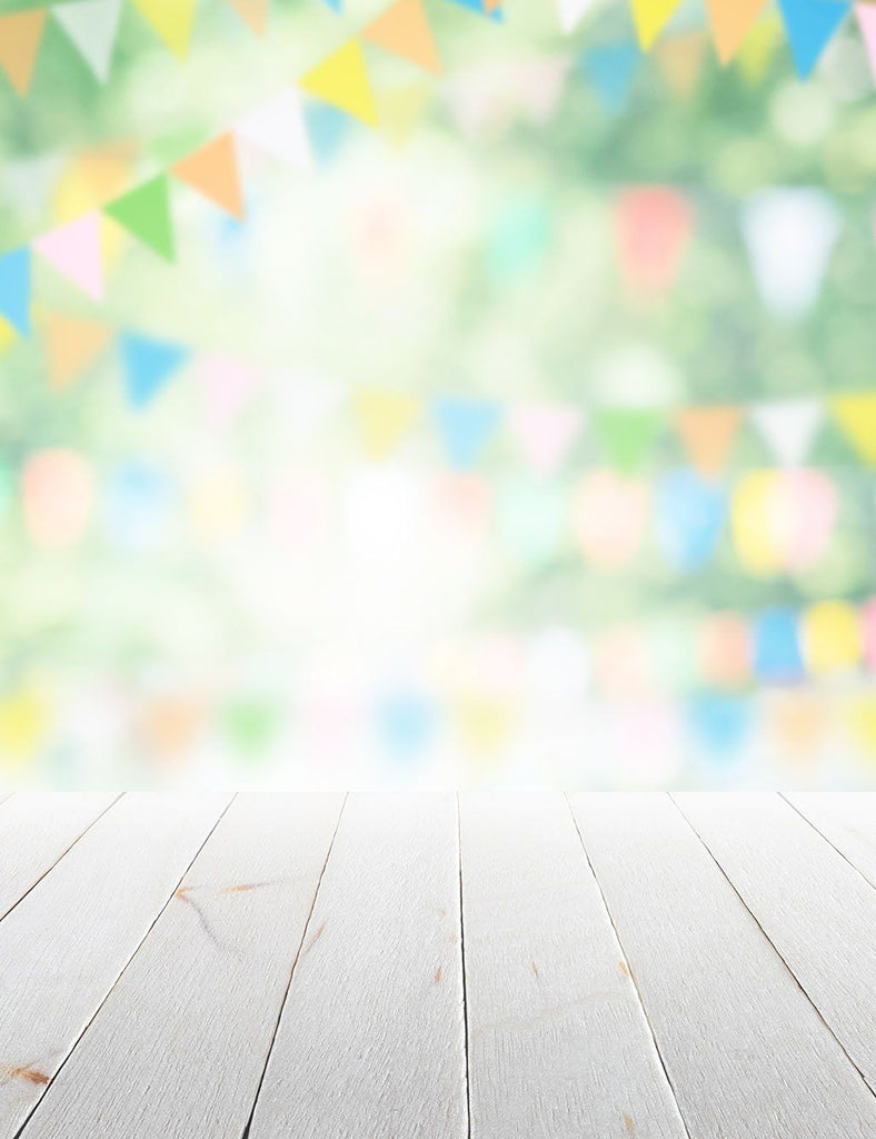 Bokeh Party Flag Background With Wood Floor Photography Backdrop - Shop Backdrop