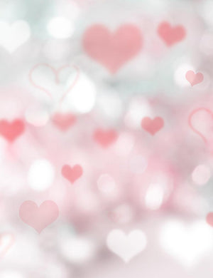 Bokeh Silver And Red Hearts For Valentines Day Photography Backdrop   Q-0172-1