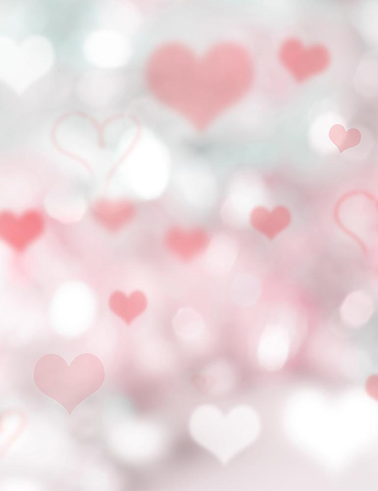 Bokeh Silver And Red Hearts For Valentines Day Photography Backdrop - Shop Backdrop