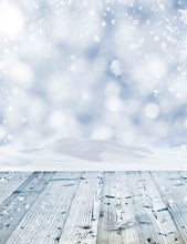 Bokeh Snow White Background With Wood Floor For Holiday Backdrop - Shop Backdrop