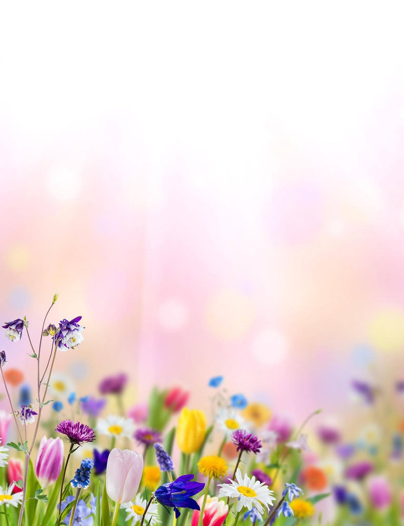 Bokeh Sunshine Wildflowers With Pink Background For Baby Backdrop - Shop Backdrop