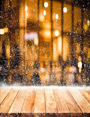 Bokeh Window And Snow With Wood Floor Photography Backdrop - Shop Backdrop
