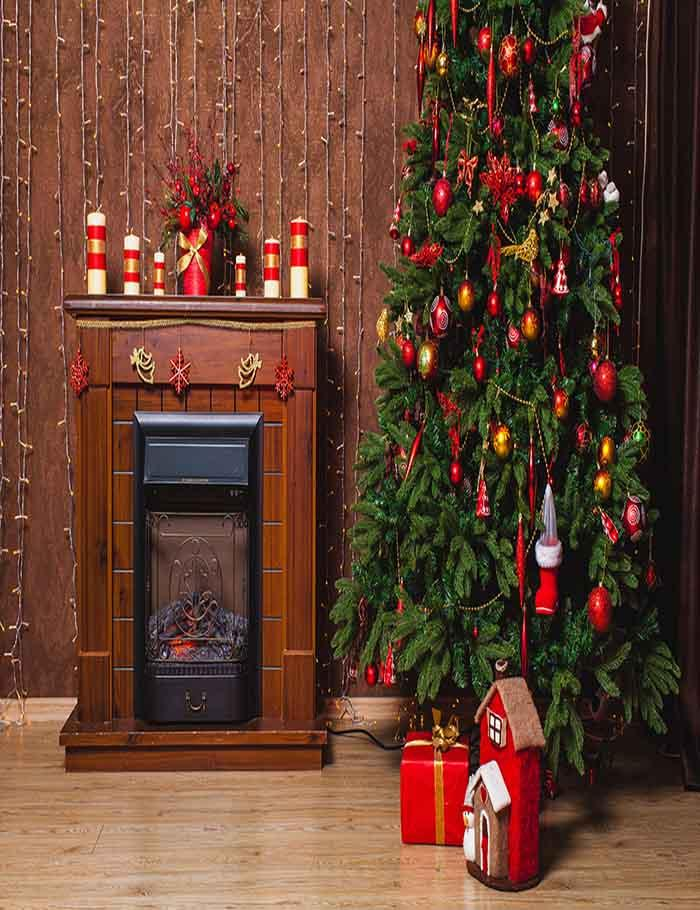 Brown Fireplace Christmas Tree Indoor For Christmas Photography Backdrop - Shop Backdrop