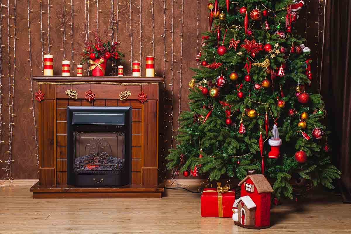 Christmas Fire Place.Brown Fireplace Christmas Tree Indoor For Christmas Photography Backdrop