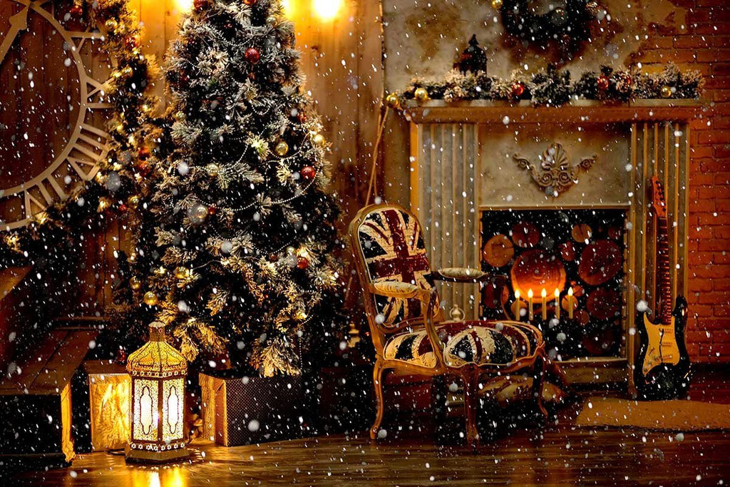 Candles And Garland Lighting With Christmas For Holiday Photography Backdrop N-0057 - Shop Backdrop