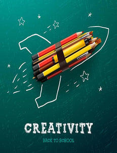 Celebrate Back To School With Rocket Ship Made in Pencil Photography Backdrop J-0159 - Shop Backdrop