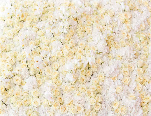 Champagne Yellow White Flower Wall For Wedding Photography Backdrop J-0214 - Shop Backdrop