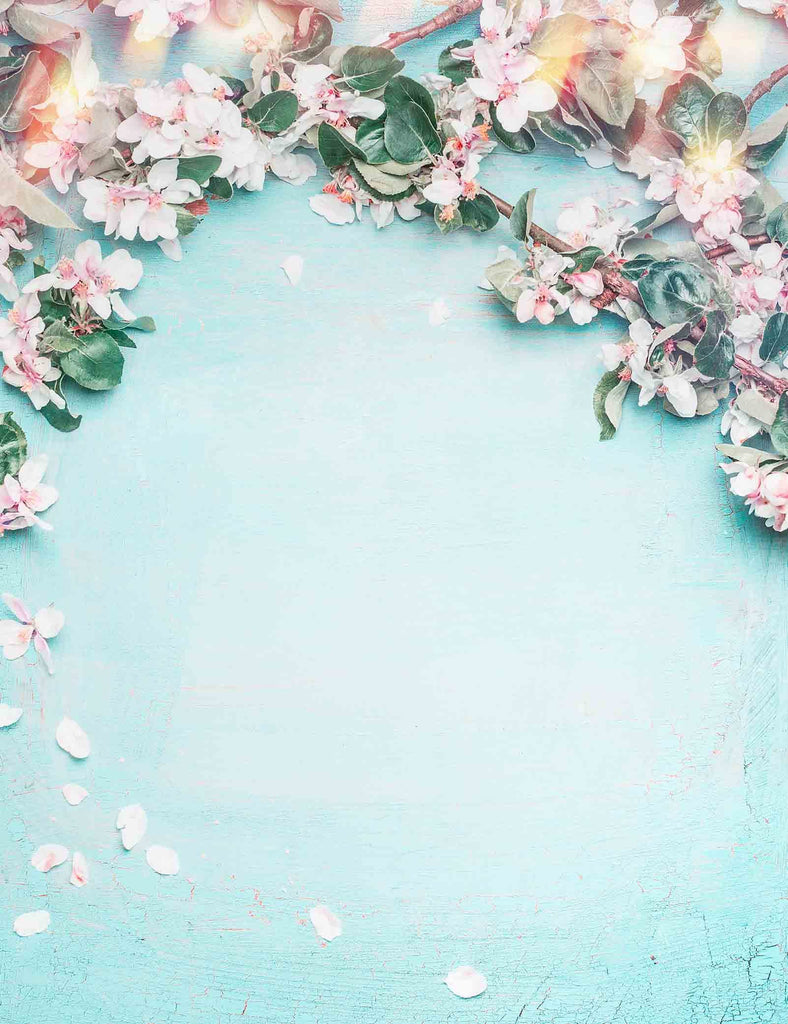 Cherry Blossoms On Light Cyan Wall Photography Backdrop - Shop Backdrop