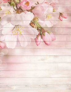 Cherry Flower Printed On Wood Floor Backdrop For Baby Photography - Shop Backdrop