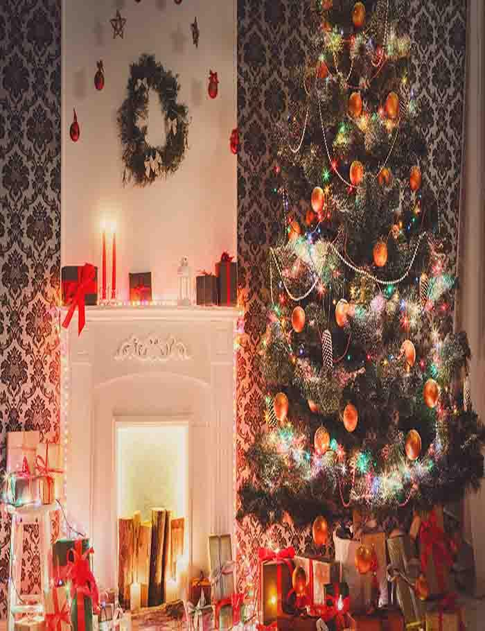 Chirtsmas Tree With Damask Wall For Holiday Photography Backdrop J-0037 - Shop Backdrop