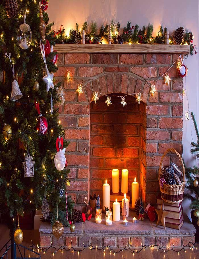 Christmas Before Fireplace Decorated With Candles For Holiday Photography Backdrop N-0034 - Shop Backdrop