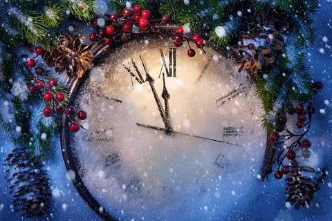 Christmas Clock And Fir Branches Covered With Snow Photography Backdrop J-0112 - Shop Backdrop