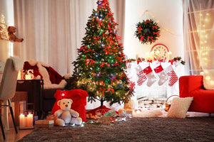 Christmas Fir Tree Interior With Fireplace For Holiday Photography Backdrop N-0049