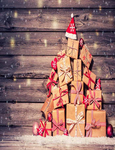 Christmas Gifts With Brown Wood Wall For Holiday Photography Backdrop N-0030