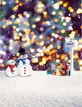 Christmas Gifts With Snow Men In Bokeh Backdround Photography Backdrop - Shop Backdrop